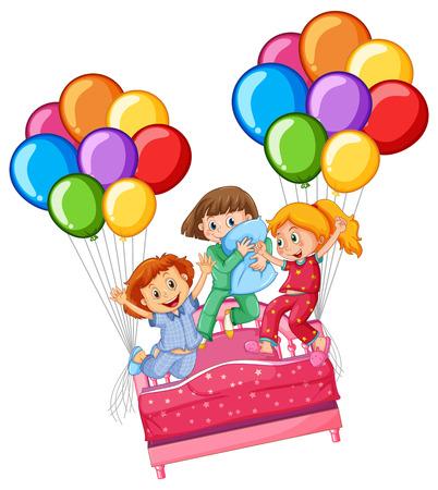 Three girls at slumber party illustration Illustration