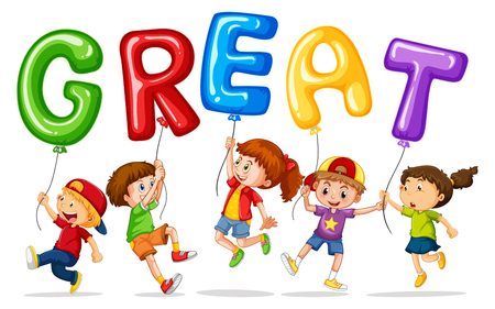great: Children holding balloons with word great illustration Illustration