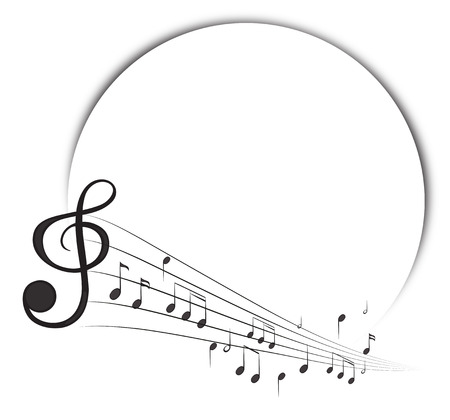 Border template with music notes in background illustration