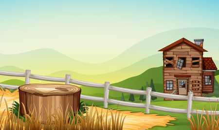 Old house in the countryside illustration