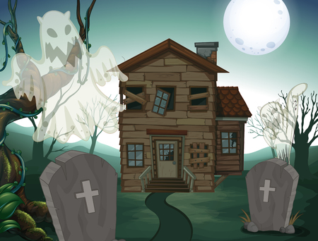 Haunted house and graveyard at night illustration
