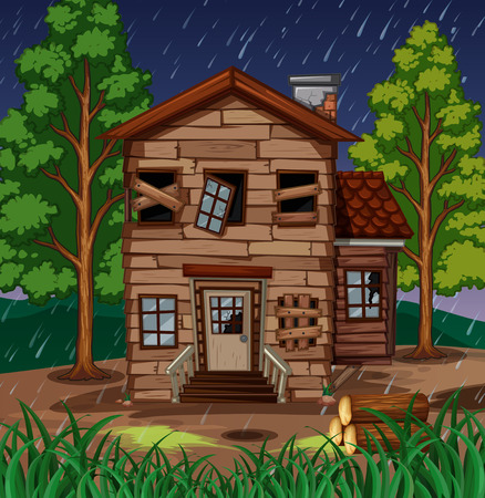 Scene with wooden house with broken windows illustration