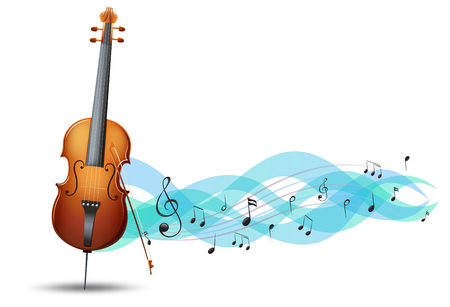 Cello and music notes in background illustration