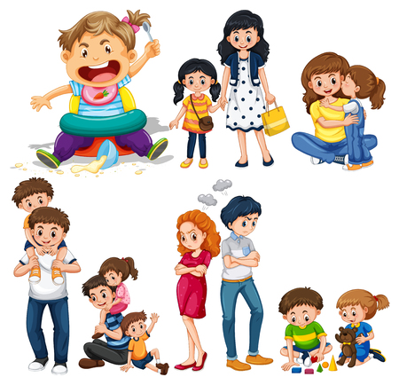 Family members with parents and kids illustration