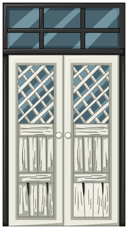 White door in poor condition illustration Illustration