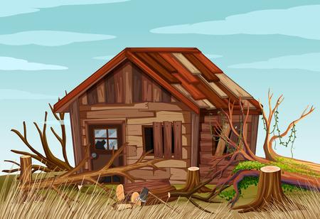 フィールドの図に古い木造家屋とのシーン  イラスト・ベクター素材