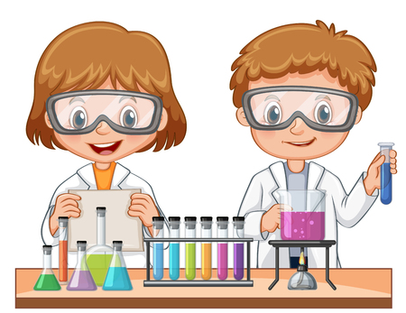 Girl and boy doing science experiment illustration