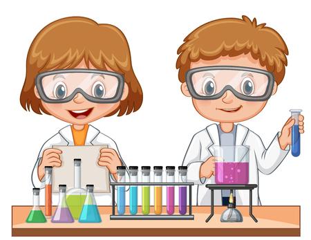Niña y niño haciendo ilustración experimento de la ciencia