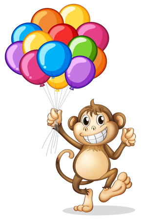 floating: Monkey holding colorful balloons illustration