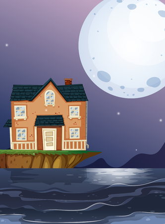 Brick house by the ocean illustration