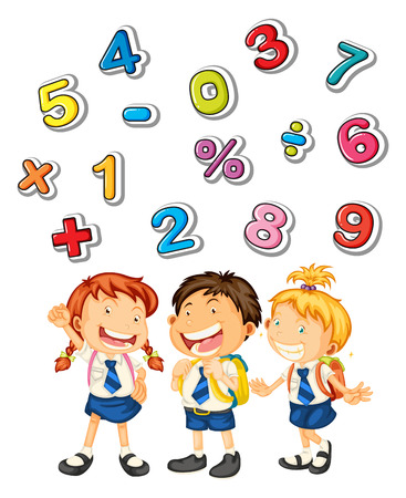 School kids and many numbers illustration
