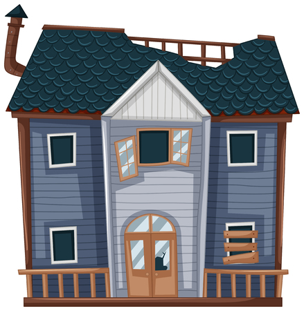 Wooden house with bad condition illustration