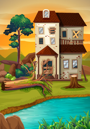 Old house by the pond illustration