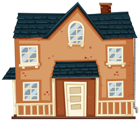 Brick house with blue roof illustration Illustration
