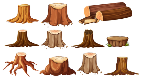Different shapes of stump trees illustration