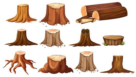 Verschillende vormen van stomp bomen illustratie