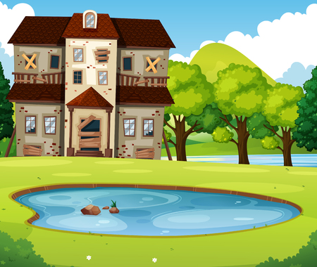 Old brick house with lawn and pond illustration Illustration