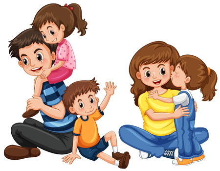 Father and mother with three kids illustration