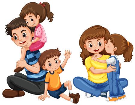 3人の子供のイラストを持つ父と母  イラスト・ベクター素材