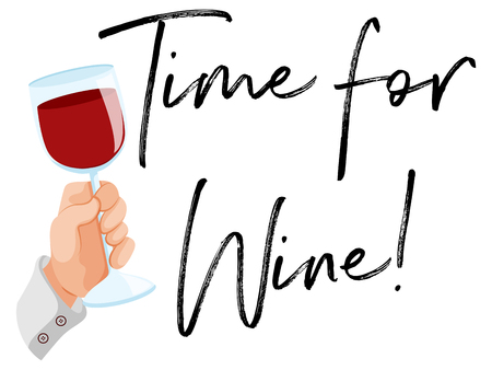 Time for wine with glass of red wine illustration Illustration