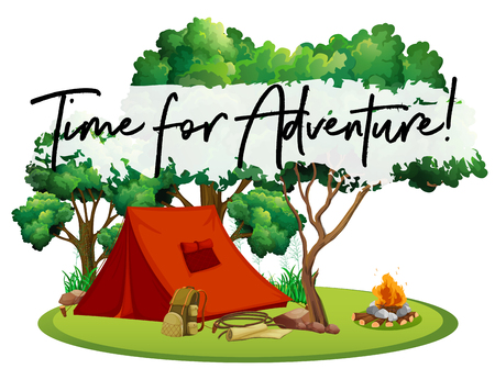 Camping site with phrase time for adventure illustration Illustration