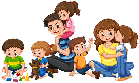 plaything: Parents with five children playing illustration