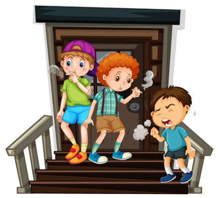 Three boys smoking cigarette on stairs illustration
