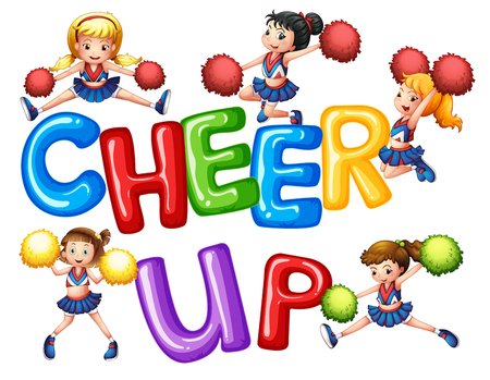 Cheerleaders and word cheer up illustration