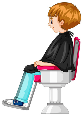 Little boy sits on barber chair illustration