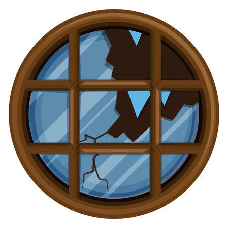 Round window with broken glass illustration