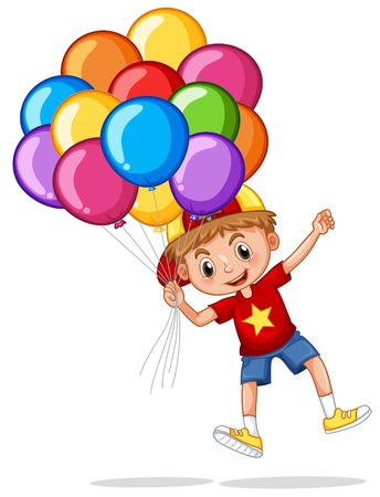 floating: Happy boy with colorful balloons illustration