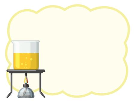 Border template with yellow liquid in beaker illustration Illustration