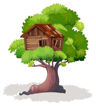 Treehouse on the tree illustration Illustration