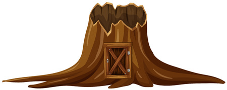 Stump tree with wooden door illustration Illustration