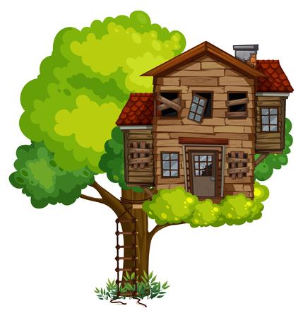 Old treehouse on the tree illustration