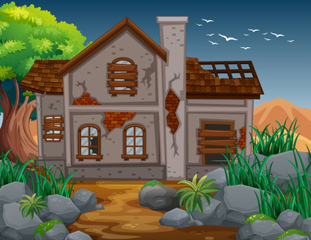 Brick house in the field illustration