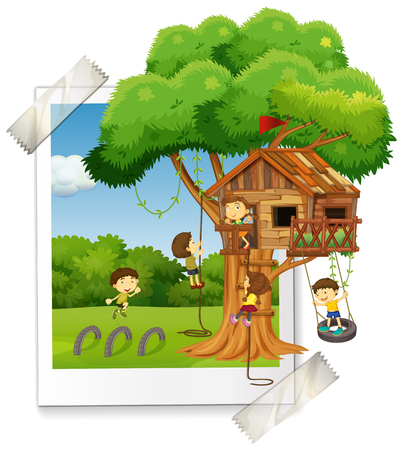 Many children playing in treehouse illustration