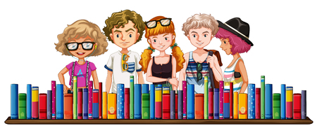 Five teenagers and many books illustration