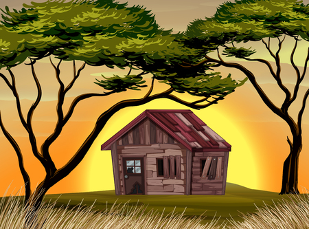 Old cottage in the field at sunset illustration