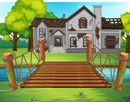 Old house by the river illustration