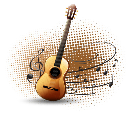 Guitar and musical notes in background illustration