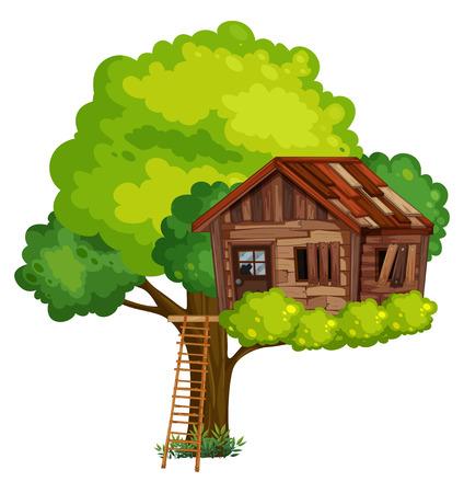 木製のイラストで作られた古いツリーハウス