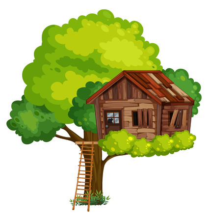 Oude treehouse gemaakt van hout illustratie Stock Illustratie