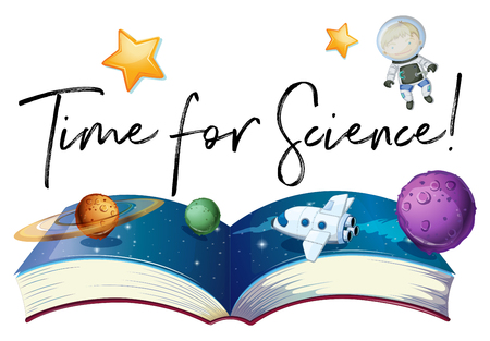 Phrase time for science with planets in galaxy illustration