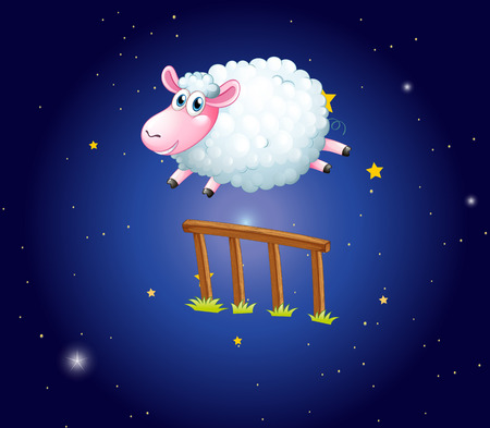 White sheep jumping over fence at night illustration Stok Fotoğraf - 85245643