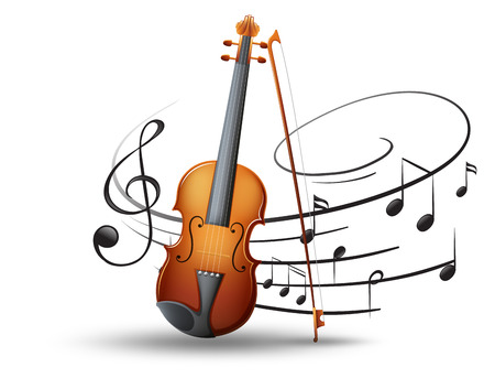 Violin and music notes in background illustration