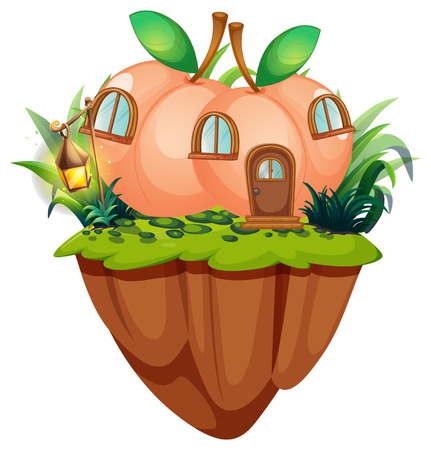 Peach house on the cliff illustration Ilustração