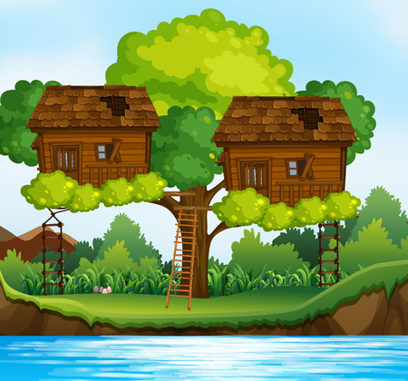 Two treehouses on the tree by the river illustration