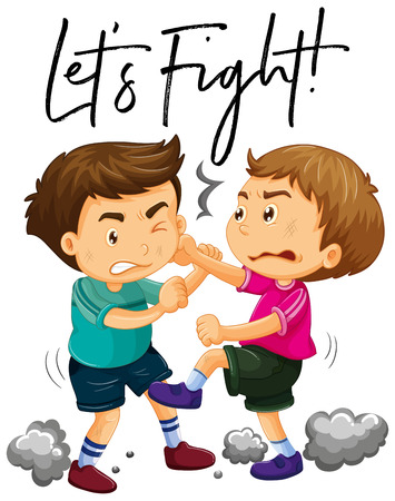 Phrase lets fight with two angry boys fighting illustration