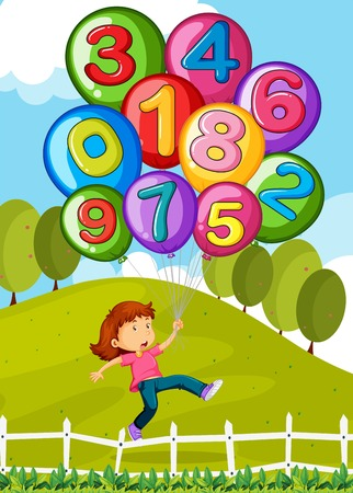 mathematics: Balloons with numbers and little girl in park illustration